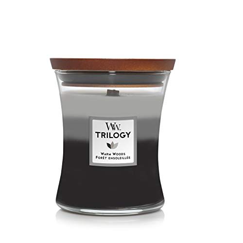 WoodWick Trilogy candela profumata a clessidra media con Pluswick Innovation, Legno caldo