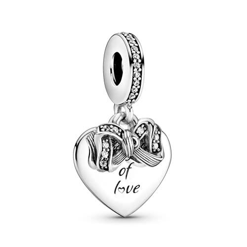 ZHANGCHEN Pulsera de Plata de Ley 925 para Mujer, Lazo de Amor y Amuleto de corazón, Adecuado para Moda, Regalo, joyería de Bricolaje