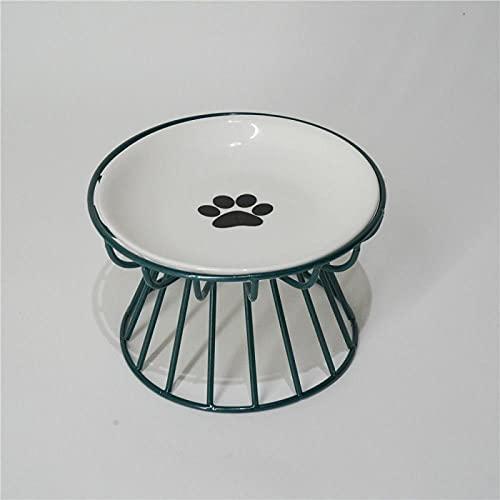 Cuenco para Gatos Cuenco para Perros Marco De Hierro De Cerámica Cuenco De Comida Anti-Vuelco Protección para Pies Alta Columna Cervical Vajilla para Mascotas-Placa De Impresión De Pata