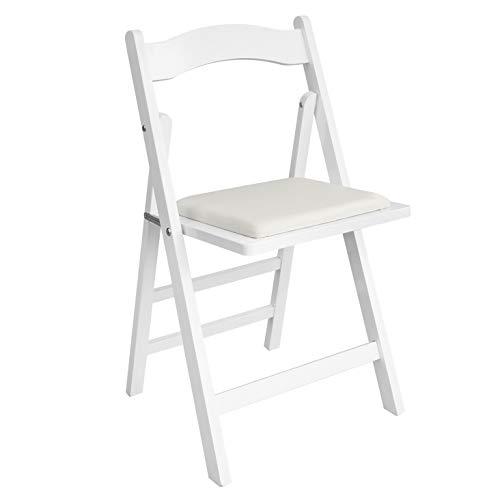SoBuy® FST06-W Chaise pliante en bois avec assise rembourrée, Chaise pliable pour Cuisine, Bureau, etc -Blanc