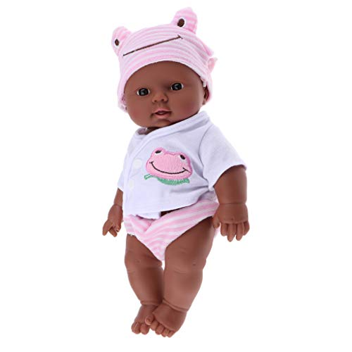 lahomia 30cm Lifelike Soft Vinyl Baby Doll African Newborn Baby Doll Toys Gift Pink