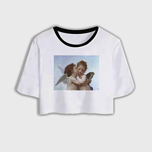 ZHOUBIANREN Vrouw T-Shirt, Vrouwen Kleding Zomer Cupid Engel Shirt Mode Harajuku Streetwear Vintage Esthetische Vrouw Tshirt