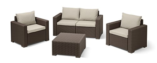 Allibert Lounge Sessel California 2er Set mit Kissen, braun/panama taupe - 4