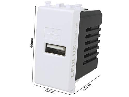 LEDLUX LL511W Modulo Caricatore USB 5V 2,1A Compatibile Con Placca Vimar Plana Colore Bianco Da Muro Per Scatola 503 504 505 Ricarica Veloce