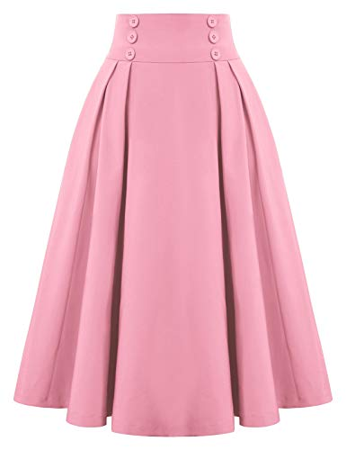 Belle Poque Plus Size Pink Skirt with Pockets Plus Size A Line Skirt for Women,X-Large