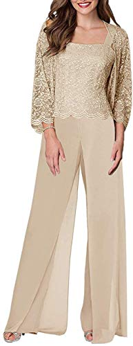 Onlylover Women's 3 Pieces Lace Mother of The Bride Pant Suits with Long Sleeves Plus Size Jacket Dress Champagne (Apparel)