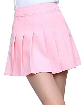 YOUGUE Women Plaid Pleated Tennis Mini Skirt School Girl Uniform Skort