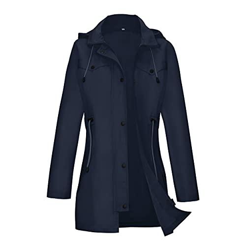Funlingo Damen Regenjacke Mit Kapuze Wasserdicht Regenparka Winddicht Atmungsaktiv Leicht Regenmantel Outdoor Sportjacke Mantel Damen Navy Blau 42