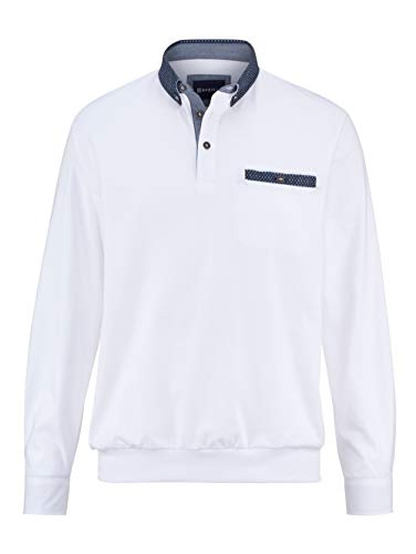 BABISTA Herren Blouson-Shirt – Langarm-Shirt aus Reiner Baumwolle, Leichter Pullover mit Hemd-Kragen, Polo-Hemd in Fuchsia, Gr. 46, Weiß, Gr. 50