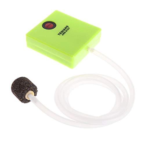 JICHUI Outdoor-Mini Ultra Silent Aquarium Luftpumpe Einzel Outlet trockene Zellen-Batterie betrieben Fish Tank Sauerstoff Pumpvorrichtung (Grün)