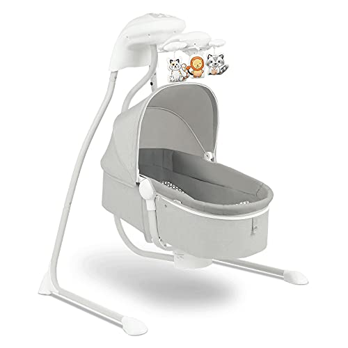 Lionelo Henny 3in1 Baby Wippe Babyschaukel und Babyliegestuhl Babywippe Elektrisch mit Liegefunktion 10 Melodien Karussell USB-Anschluss Moskitonetz, Grau