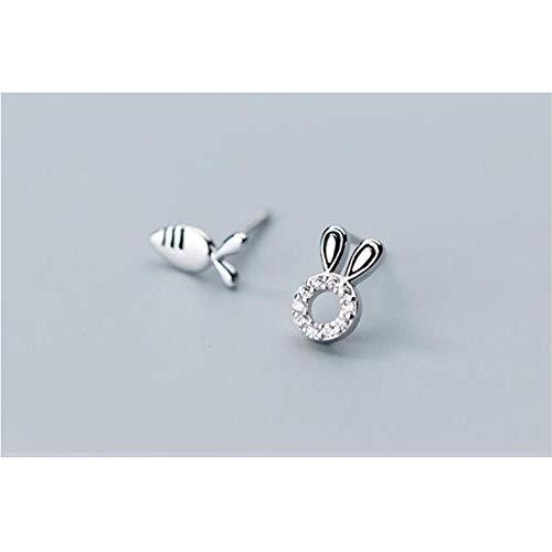 Empty 925 Plata esterlina Lindo minúsculo asimétrico Conejo rábano Pendiente para Mujer joyería-Plata-Color