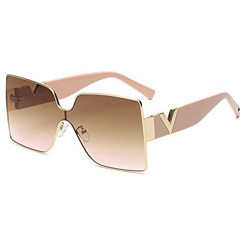 XIAOLING 2021 Gafas de Sol cuadradas Retro para Mujeres Hombres Gafas de Gran tamaño Que impulsan la Marca de Lujo Negro Moderno UV400 Moda (Color : 2, Size : Width:68mm)