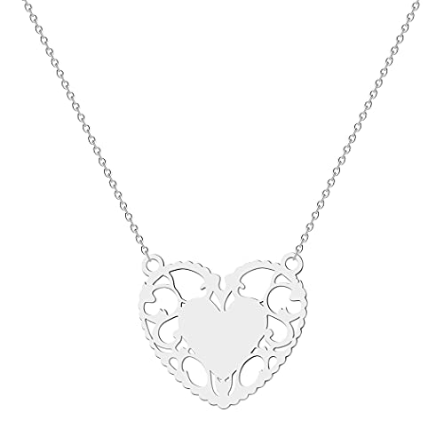 Collar con colgante en forma de corazón para mujeres y niñas, encaje hueco en forma de corazón, cadena de acero inoxidable para pareja, Acero inoxidable,