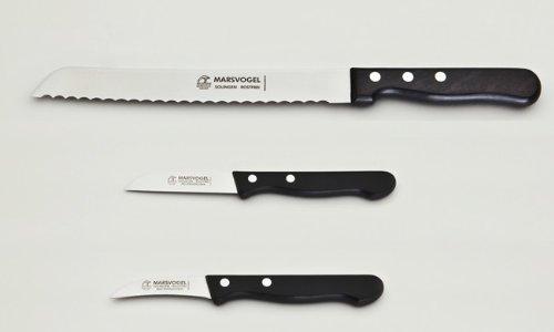 Messer Set 3-tlg. 1 x Brotmesser + 2 x Küchenmesser POM-Griff Marsvogel Solingen