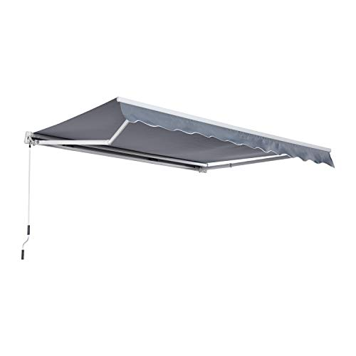 Outsunny Markise Alu-Markise Aluminium-Gelenkarm-Markise 3x4m Sonnenschutz Balkon Grau