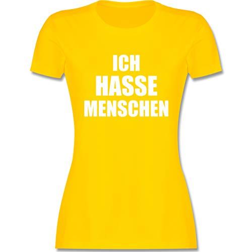 Sprüche - Ich Hasse Menschen - M - Gelb - t-Shirt\'\'ich Hasse Menschen\'\' - L191 - Tailliertes Tshirt für Damen und Frauen T-Shirt