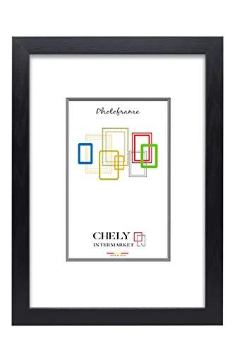 Chely Intermarket, Marco de Fotos Grandes 30x45 cm (Negro) MOD-254, Hecho de Madera, Ancho de Bastidor 1,20 cm con Acabado Elegante | Marco para títulos y certificados (254-30x45-0,60)