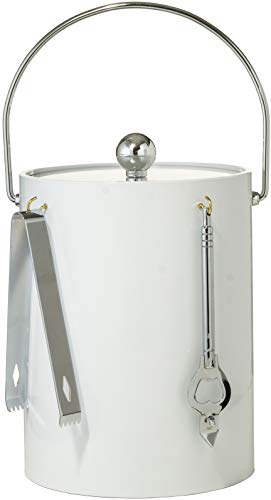 Hand Made in USA White Double Walled 5-Quart Insulated Ice Bucket with Ice Tongs & Bottle Opener