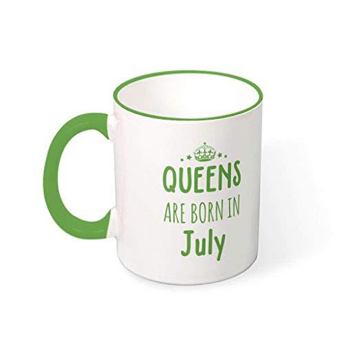 superyu Vaso de viaje con texto en inglés 'Queen Are Born In July Retro Ceramic Tazas para familia verde 330 ml