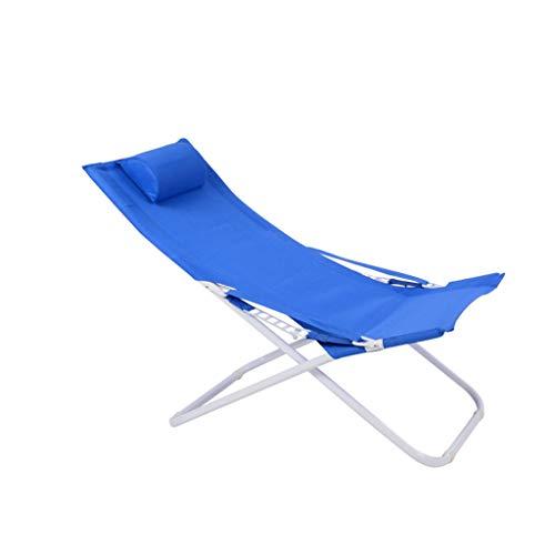 Chaise pliante Chaise longue réglable en acier (Couleur : Bleu, taille : 55 * 77 * 113cm)