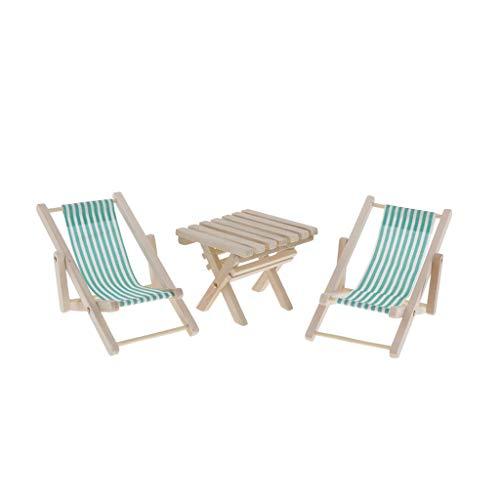 CUTICATE 3 Stück Miniatur Gartenmöbel gestreiften Campingstuhl Strandstuhl Klappstuhl & Holztisch für 1: 6 Puppenhaus Garten Balkon Strand Dekoration - Grün