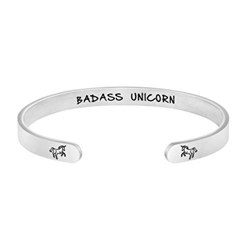 Joycuff Badass Unicorn Bracelet Gift for Best Friend Hand Stamped Cuff Bangle Personalized Birthday Jewelry