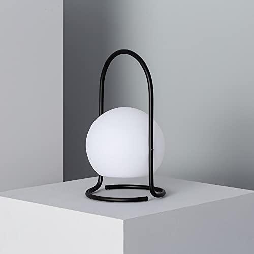 LEDKIA LIGHTING Lampada da Tavolo LED Portatile Mkono 2.5W per Esterni con Batteria USB Ricaricabile Ø170x300mm Nero Polietilene per Sale, Soggiorno, Cucina, Camera