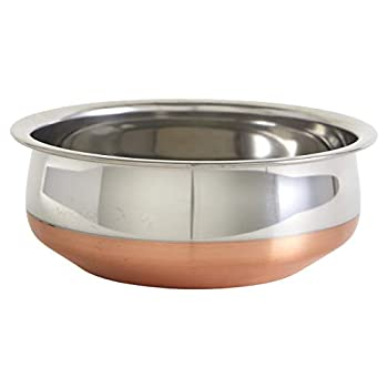 IMUSA USA Copper South Asian 8.5  Stainless Steel Handi with Beautiful Bottom