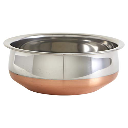 IMUSA USA Copper South Asian 8.5' Stainless Steel Handi with Beautiful Bottom