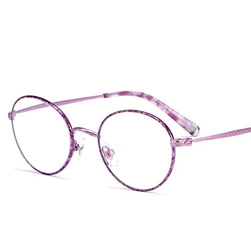 Reading glasses Retro Lesebrille, Damen Ultraleicht Hyperopie Brille, Runde GroßE Lesebrille, Metallrahmen/Harz Transparente Linse/Weiche Nasenpads, Stilvoll Und Bequem