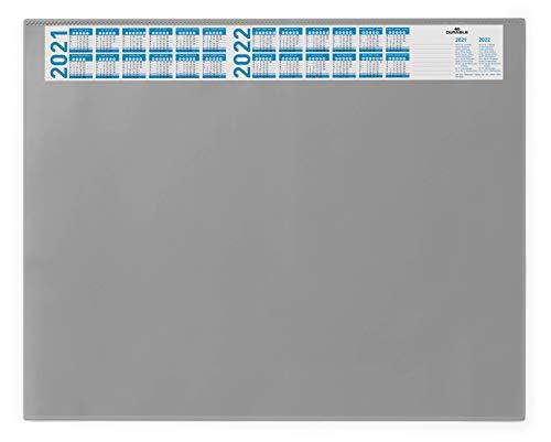 Durable 720410 Schreibunterlage (mit Vollsichtplatte und Kalender, 650 x 520 mm) 1 Stück grau
