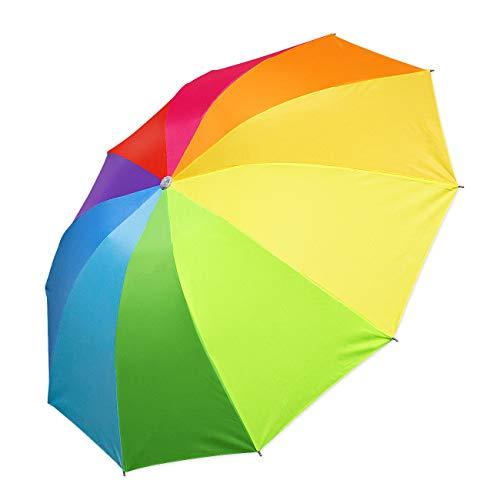 SoulCats® - Paraguas de bolsillos, color arcoíris pequeño, plegable, práctico, incluyendo funda
