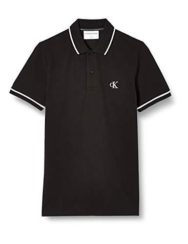 Calvin Klein Tipping Slim Polo Camisa, Black, XL para Hombre