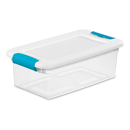 Sterilite 14928012 6 quart/5.7 L Latching Box with Clear Base, White Lid and Colored Latches, 12-Pack