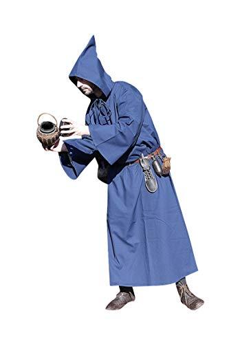 SAY Mittelalter Kutte mit Kapuze | Farbe: Blau| Gewandung | LARP (XL)