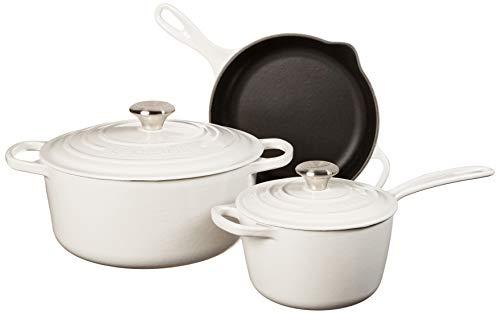Le Creuset Signature Enameled Cast Iron Cookware Set, 5-Piece, White