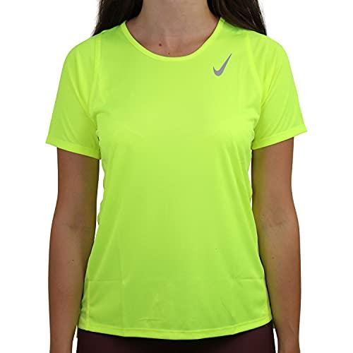 Nike W NK DF Race Top SS - Camiseta de tirantes, amarillo y plateado reflectante, large