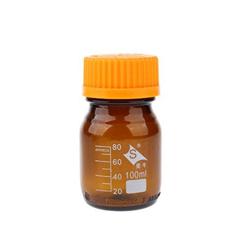 D dolity 1pieza Botella de cristal con rosca Laboratorio Intento Ensayo Botella Jarra Medidora Lab Experiment Tarro 100–1000ml Braun - 100ml