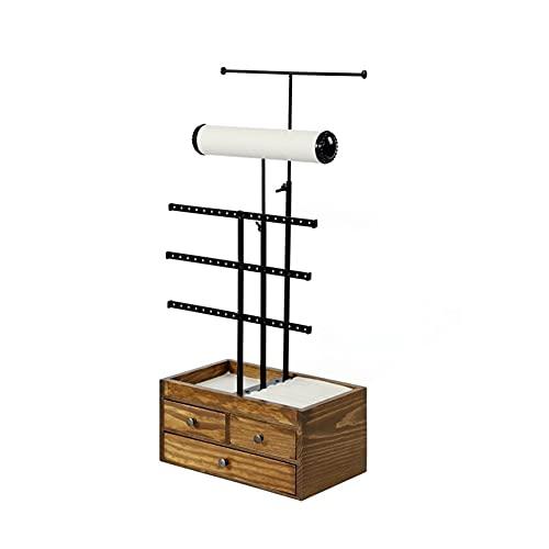 Colgador de joyas Rack de exhibición de joyas - Soporte del organizador de exhibición de la joyería para los anillos de los pendientes, soporte de soporte de almacenamiento de hierro forjado con cajon
