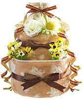 オーガニック color 今治タオル おむつケーキ ナチュラル 出産祝い オムツケーキ 男の子 女の子 男女兼用 ベビーソックス (パンパースはじめての肌へのいちばん テープL15枚)
