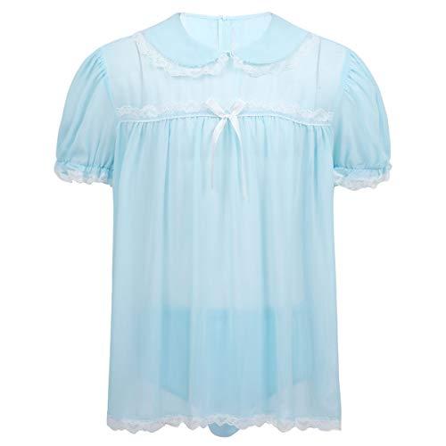 iiniim Mens 2 Piece Set Chiffon Sissy Lingerie Crossdressing Top Skirted Panties Nightwear Light Blue Large