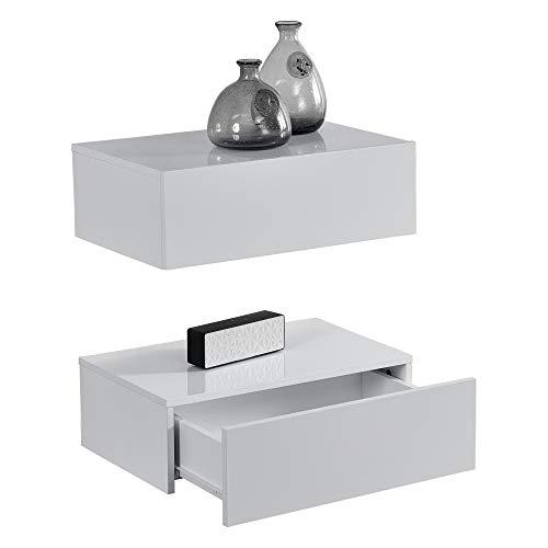 [en.casa]® Wandplank met lade-2 stuks-witte hoogglans en mat