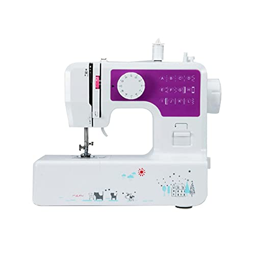 AWSAD Sewing Machine Mesa de Mano de Línea Recta Máquina de Coser Portátil Mini Overlock de Reparación de Fabricación Doméstica Eléctrica con Luz (Size : 32x14x30cm)