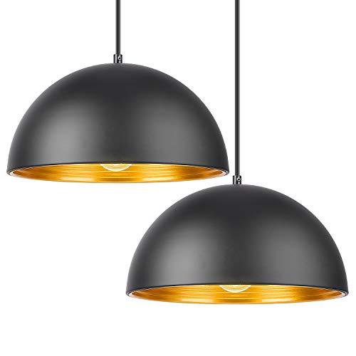 DECKEY Lámpara de Techo Luz Colgante Kit 2 Unidades 1.2M Retro Metal Lámpara E27 para Dormitorio Restaurante Cafetería y Bar Decoración Industrial [Clase de Eficiencia Energética A+]-Diseño Cósmico