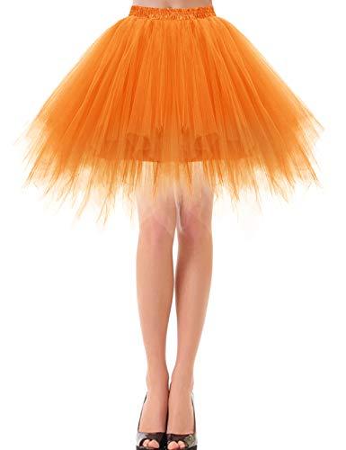 Bbonlinedress Petticoat Tutu Tüllrock Unterrock Rock 50er Vintage Ballet Blase Tanzrock Tanzkleid Ballkleid Kurz Retro Orange M