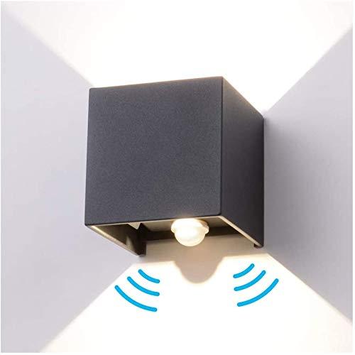 INHDBOX 12W Wandleuchte mit Bewegungsmelder Aussen/Innen LED Wandbeleuchtung, Neutralweiß Wasserdicht Verstellbare Aussenlampe, LED Wandleuchte Sensor für Garten/Flur/Weg (Anthrazit)