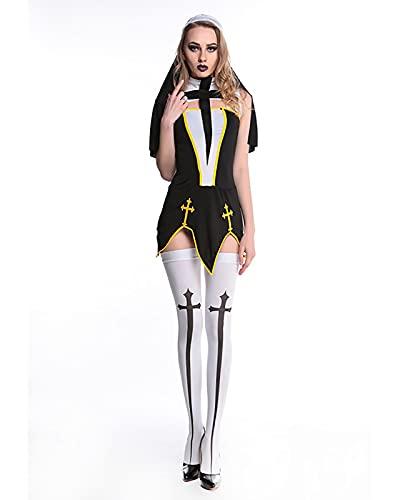 YTRDKJSW Disfraz De Halloween para Cosplay, Disfraz De Monja para Mujer, Disfraz De Monja De Mal Hbito Sexy Fiesta,Medium Black