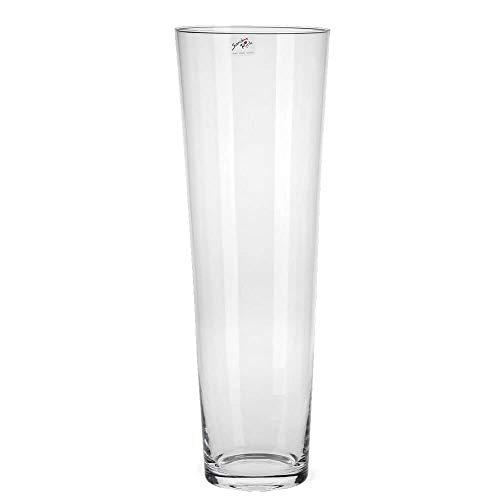 matches21 - Jarrón de cristal cónico, forma cónica, decorativo, cristal, jarrón para flores, alto, redondo, 1 unidad, diámetro 19 x 70 cm