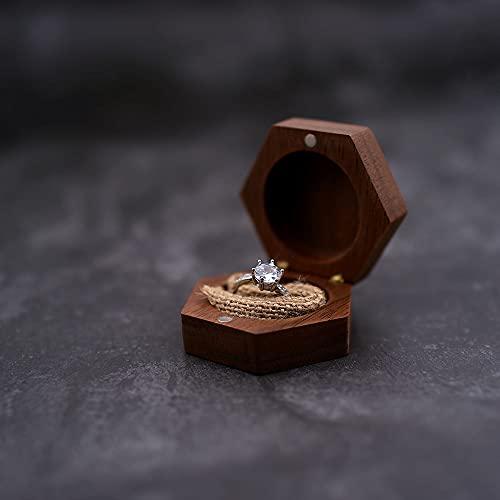LANL Caja de madera personalizada para anillo de compromiso con anillo de compromiso rústico personalizado